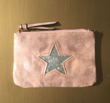 Faux Suede Star Purse/Make Up Bag - Pink